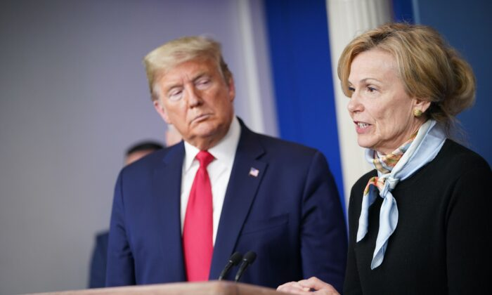 Response coordinator for White House Coronavirus Task Force Deborah Birx speaks during the daily briefing on the CCP virus at the White House in a March 24, 2020, file photograph. (Mandel Ngan/AFP via Getty Images)