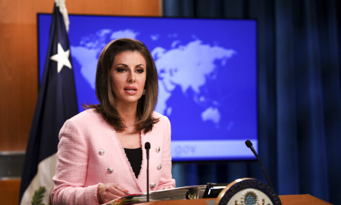 State Department spokesperson Morgan Ortagus speaks during a media briefing at the State Department in Washington on June 10, 2019. (Samira Bouaou/The Epoch Times)