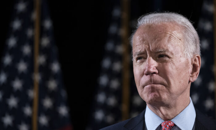 Democratic presidential candidate former Vice President Joe Biden at the Hotel Du Pont in Wilmington, Del., on March 12, 2020. (Drew Angerer/Getty Images)