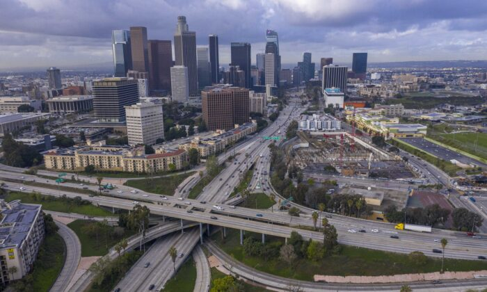 Freeway traffic flows lighter than usual on the 110 and 101 freeways before the new restrictions went into effect at midnight as the the coronavirus pandemic spread in Los Angeles on March 19, 2020. (David McNew/Getty Images)