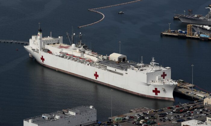 Aerial view of the Hospital ship USNS Mercy docked at Naval Base San Diego in San Diego, Calif., on March 20, 2020. (Sean M. Haffey/Getty Images)