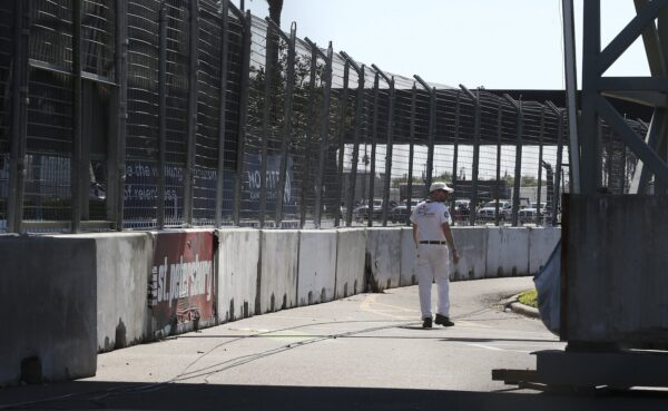 The track is void of cars after the news that the Grand Prix of St. Petersburg is canceled