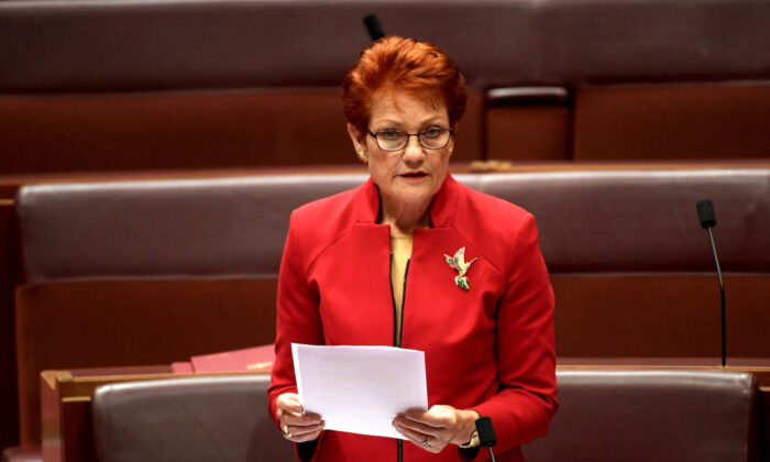 Senator Pauline Hanson in the Senate at Parliament House in Canberra, Australia on July 4, 2019.(Tracey Nearmy/Getty Images)