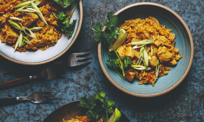 Coconut curry chicken and rice. (Lizzie Mayson)