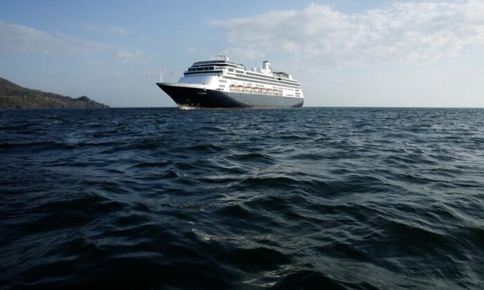 The Zaandam cruise ship is anchored in the bay of Panama City, on March 27, 2020.(Arnulfo Franco)