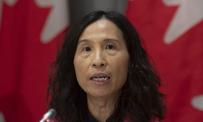 Chief Public Health Officer Theresa Tam speaks during a news conference in Ottawa on March 26, 2020. (The Canadian Press/Adrian Wyld)