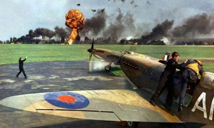 """A scene from """"Battle of Britain,"""" which pits Britain's Royal Air Force against the Luftwaffe. (MGM)"""