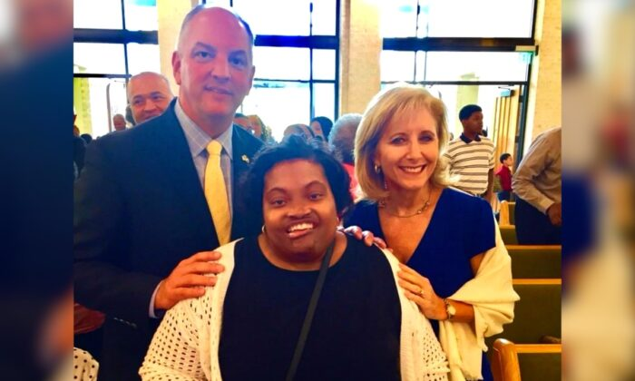 April Dunn (C), a 33-year-old staff member of Louisiana Governor John Bel Edwards. (Office of the Governor)