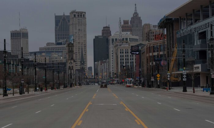 Streets in Detroit, Mich., nearly empty on March 24, 2020. (Seth Herald/AFP via Getty Images)