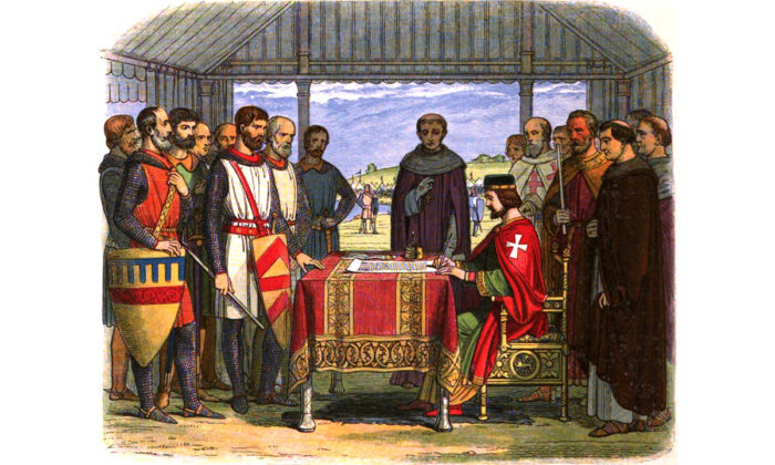 "A romanticised 19th-century recreation by James William Edmund Doyle of England's King John (seated R) signing the Magna Carta at Runnymede. (in ""A Chronicle of England""/Wikimedia Commons)"