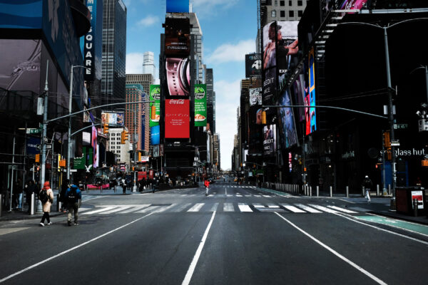 Times Square stands mostly empty