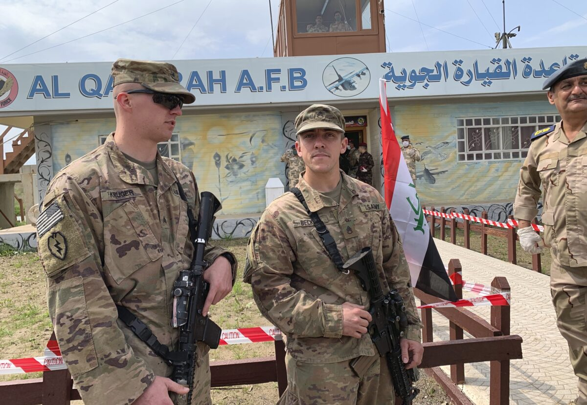 U.S. soldiers stand guard