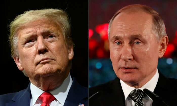 President Donald Trump (L) and Russian President Vladimir Putin (R) in a file photo. (Jim Watson and Emmanuel Dunand/AFP via Getty Images)