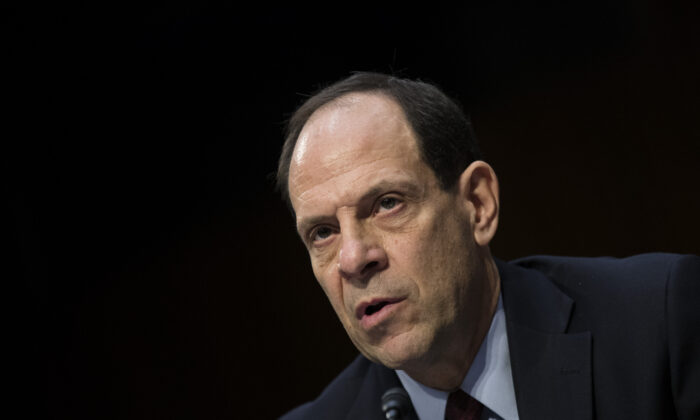 Glenn Fine, acting Inspector General at the U.S. Department of Defense, testifies during a Senate Judiciary Committee on Capitol Hill in Washington on Dec. 6, 2017. (Drew Angerer/Getty Images)