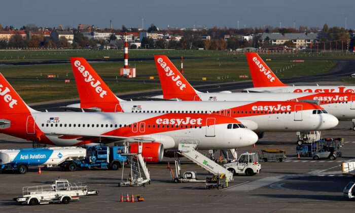 EasyJet airplanes are pictured at Tegel airport in Berlin, Germany, on Nov. 14, 2019. (Reuters/Fabrizio Bensch/File Photo)
