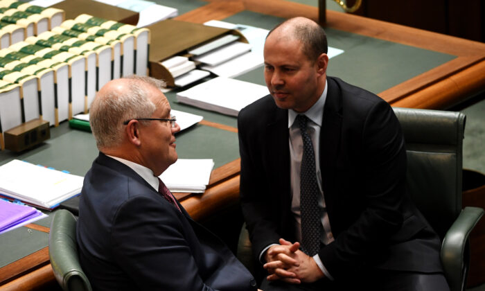 Australian Prime Minister Scott Morrison and Finance Minister Josh Frydenberg during Question Time in the House of Representatives in Canberra, Australia, on March 3, 2020. (Tracey Nearmy/Getty Images)