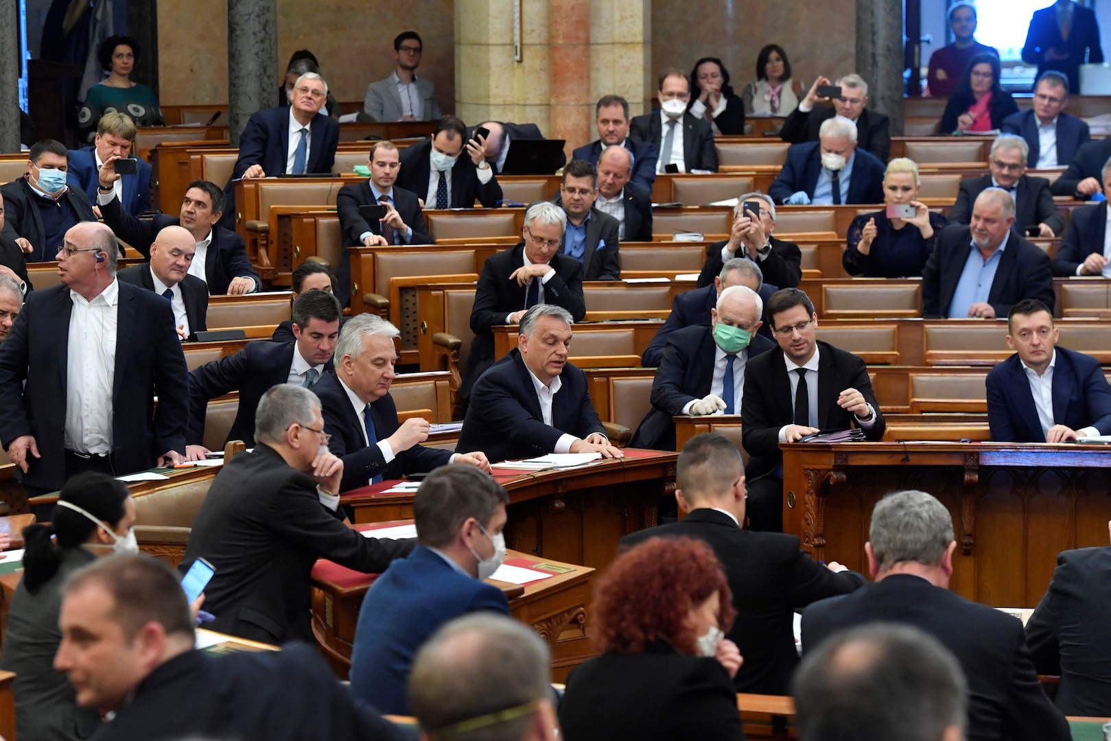 Hungarian Prime Minister Viktor Orban votes the law granting the government special powers to combat the coronavirus disease (COVID-19) crisis