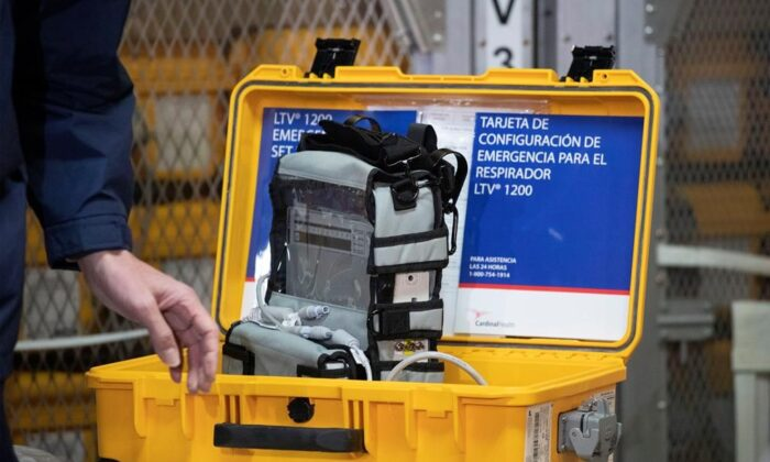 A ventilator is displayed during a news conference on March 24, 2020 at the New York City Emergency Management Warehouse, where 400 ventilators have arrived and will be distributed. Hundreds of ventilators are now in production as part of the federal government's efforts to shore up national stockpiles of crucial equipment needed to fight COVID-19. (Mark Lennihan/The Canadian Press via AP)