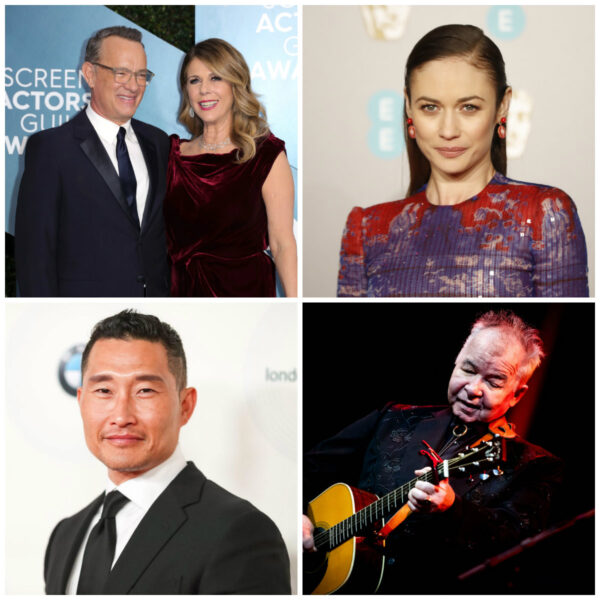 Tom Hanks and his wife Rita Wilson.(L) Olga Kurylenko (R) Daniel Dae Kim(L);John Prine(R)