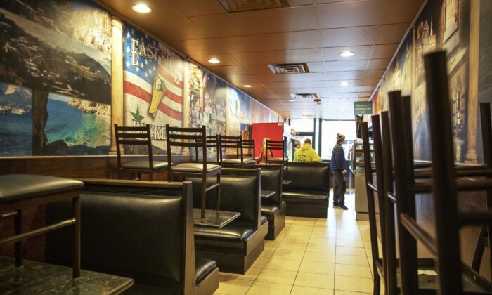 The dining section is closed off at East Side Pockets, a small restaurant in Providence, R.I., on March 25, 2020. (David Goldman/AP Photo)