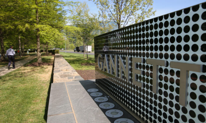 A sign in front of Gannett's headquarters in Tysons Corner, Va., in a file photo. (Mark Wilson/Getty Images)