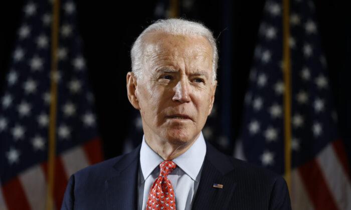 Democratic presidential candidate former Vice President Joe Biden speaks about the CCP virus in Wilmington, Delaware on March 12, 2020. (Matt Rourke/AP Photo)