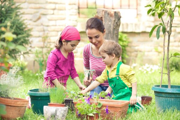 mom gardening with children