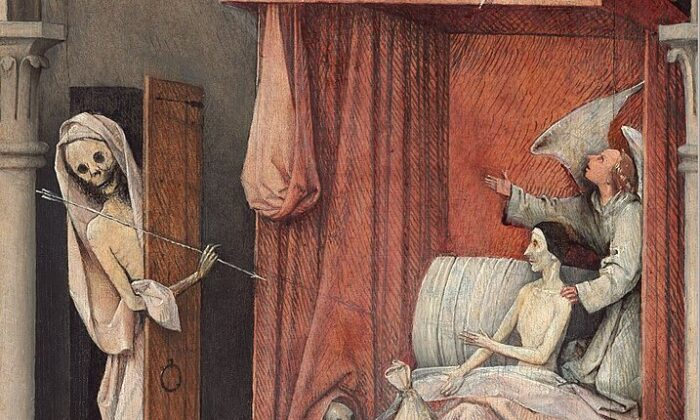 "A detail from ""Death and the Miser"" circa 1485-1490 by Hieronymus Bosch. Oil on Panel, 36 5/8 by 12 3/16 inches. National Gallery of Art, Washington. (Public Domain)"