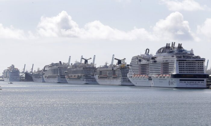 Cruise ships are docked at PortMiami on March 31, 2020, in Miami. (Wilfredo Lee/AP Photo)