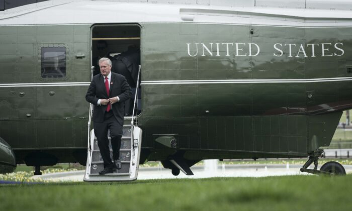 Acting White House Chief of Staff Mark Meadows arrives at the White House on March 28, 2020. (Sarah Silbiger/Getty Images)