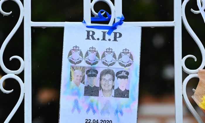 Detail of the pictures of police officers as a tribute at the front gate of the Victoria Police Academy ahead of the funeral of Constable Glen Humphris on May 01, 2020 in Melbourne, Australia. (Quinn Rooney/Getty Images)