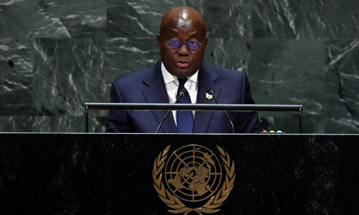 President of Ghana Nana Addo Dankwa Akufo-Addo speaks at the 74th Session of the General Assembly at the United Nations headquarters on Sept. 25, 2019 in New York. (Johannes Eisele/AFP via Getty Images)