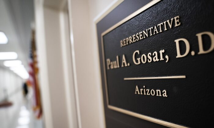 The entrance to Rep. Paul Gosar's (R-Ariz.) closed office in the Rayburn House Office Building on Capitol Hill in Washington on March 9, 2020. (Drew Angerer/Getty Images)