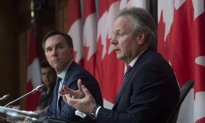 Finance Minister Bill Morneau looks on as Bank of Canada governor Stephen Poloz responds to a question during a news conference in Ottawa on March 27, 2020. (The Canadian Press/Adrian Wyld)