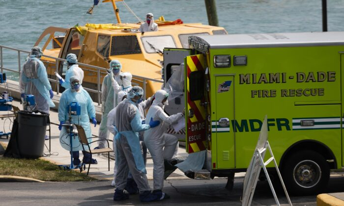 Medical staff transfer suspected CCP virus patients in an ambulance to a medical facility after they arrive at the United States Coast Guard Base in Miami Beach in Miami, Florida, on March 26, 2020. (Eva Marie Uzcategui/Getty Images)