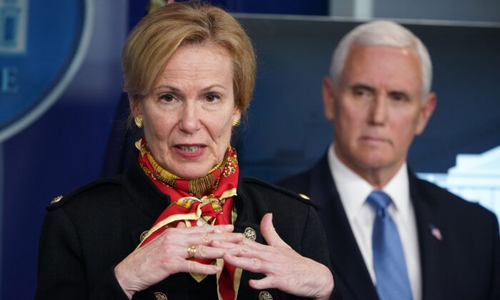 Response coordinator for White House Coronavirus Task Force Deborah Birx speaks as Vice President Mike Pence listens during the daily briefing on the CCP virus in the Brady Briefing Room at the White House in Washington on March 31, 2020. (Mandel Ngan/AFP via Getty Images)