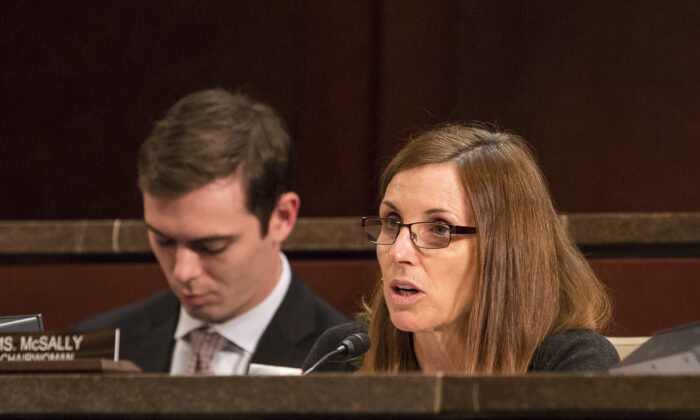 Sen. Martha McSally (R-Ariz.) at the Border and Maritime Security Subcommittee hearing on the threats at the U.S.-Canada border at Capitol Hill in Washington on Nov. 14, 2017. (Samira Bouaou/The Epoch Times)