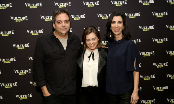 Actors Adam Schlesinger (L), Rachel Bloom (C) and Aline Brosh McKenna (R) attend Crazy Ex Girlfriend: A Musical Revue at the Vulture Festival at Milk Studios in New York City on May 21, 2016.  (Cindy Ord/Getty Images for Vulture Festival)