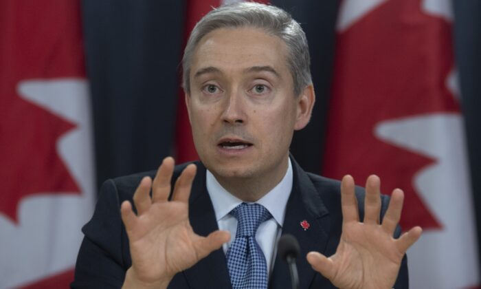 Foreign Affairs Minister Francois-Philippe Champagne responds to a question during a news conference in Ottawa, Canada, on March 9, 2020. (Adrian Wyld/ The Canadian Press)