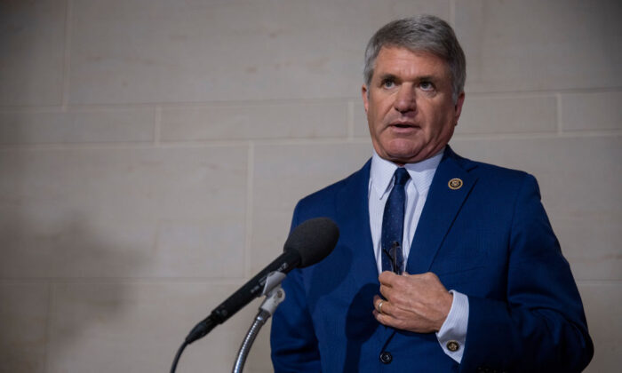 Rep. Michael McCaul (R-Texas) speaks to the media before a closed session before the House Intelligence, Foreign Affairs and Oversight committees in Washington on Oct. 15, 2019. (Tasos Katopodis/Getty Images)