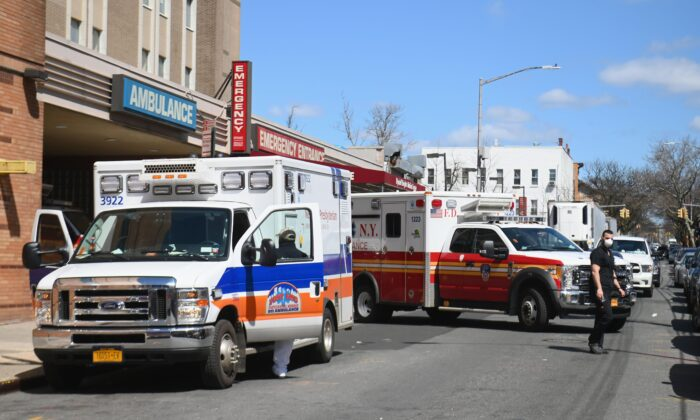 Ambulances in front of the emergency room entrance of the Wyckoff Heights Medical Center in Brooklyn, New York City, on April 2, 2020. (Angela Weiss/AFP via Getty Images)