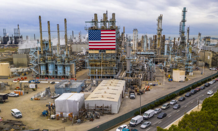 The Marathon Refinery in Carson, Calif., on March 9, 2020. (David McNew/AFP via Getty Images)