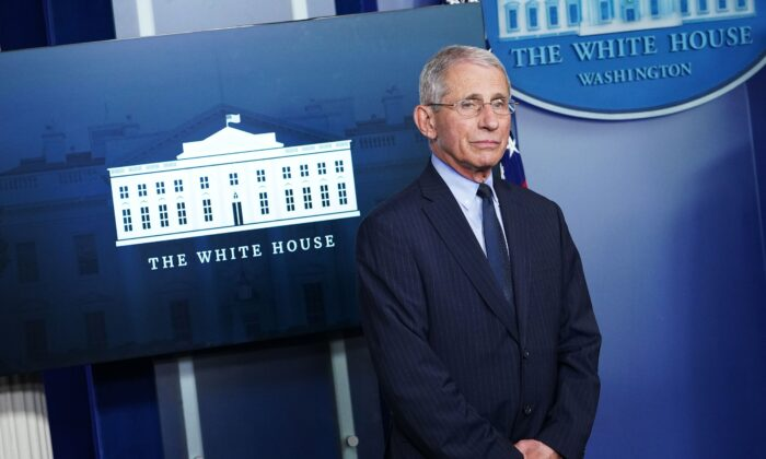 Director of the National Institute of Allergy and Infectious Diseases Dr. Anthony Fauci at the White House in Washington on April 1, 2020. (Mandel Ngan/AFP via Getty Images)