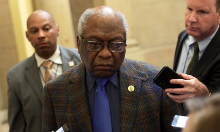 House Majority Whip James Clyburn (D-S.C.) speaks to members of the media at the U.S. Capitol in Washington on March 13, 2020. (Alex Wong/Getty Images)
