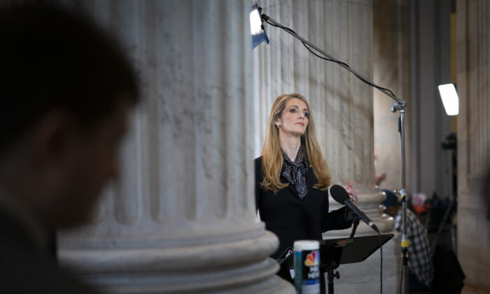 Sen. Kelly Loeffler (R-Ga.) during a television interview on Capitol Hill in Washington on March 20, 2020. (Drew Angerer/Getty Images)