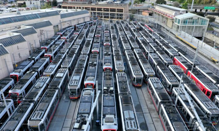 San Francisco MUNI Metro trains sit parked as ridership has plummeted due to residents sheltering in place due to CCP virus concerns in San Francisco, California, on March 30, 2020. (Justin Sullivan/Getty Images)