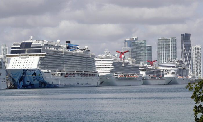 Cruise ships are shown docked at PortMiami in Miami, on March 31, 2020. (Wilfredo Lee/AP)