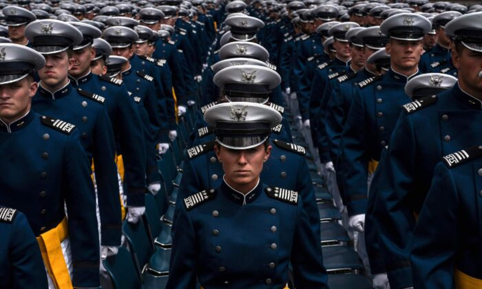 Cadets stand near their seats during the 2019 graduation ceremony at the United States Air Force Academy in Colorado Springs, Colorado on May 30, 2019. (Chet Strange/AFP via Getty Images)