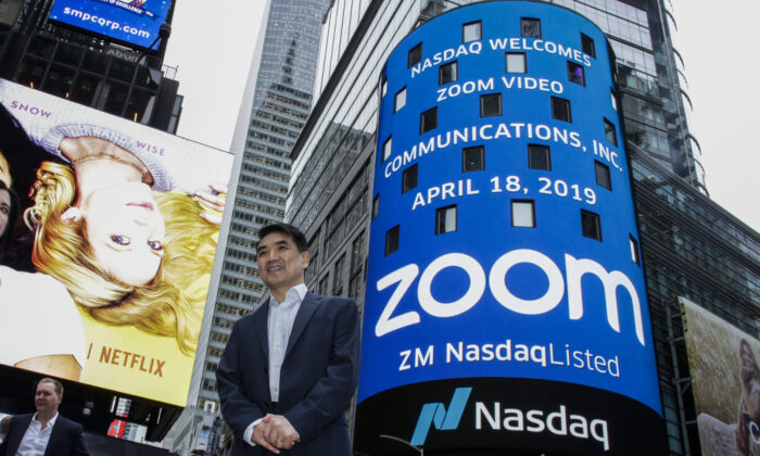 Zoom founder Eric Yuan poses in front of the Nasdaq building. (Kena Betancur/Getty Images)