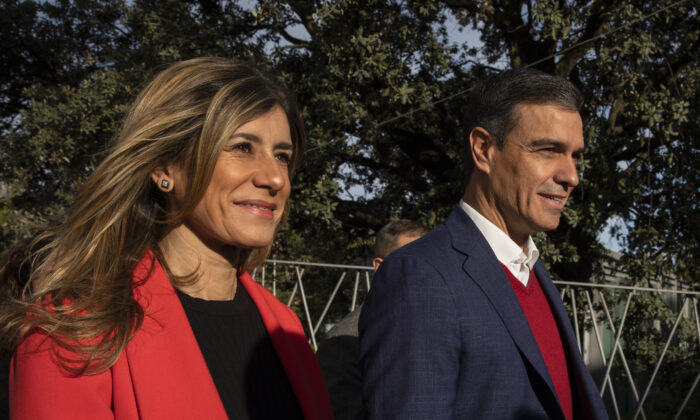 Pedro Sanchez, Leader of the Socialist Party (PSOE) and Prime Minister of Spain (R) and his wife Maria Begona Gomez (L) leave after casting his vote on November 10, 2019 in Pozuelo de Alarcon, in Madrid province, Spain. (Pablo Blazquez Dominguez/Getty Images)